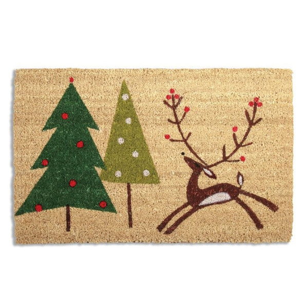 Prancing Reindeer Coir Doormat
