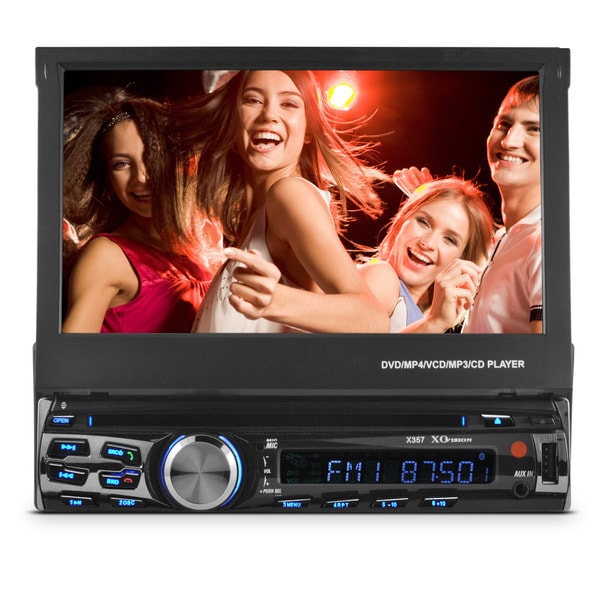 XO Vision 7-inch In-Dash Touch Screen DVD Receiver with Front USB and AV Inputs