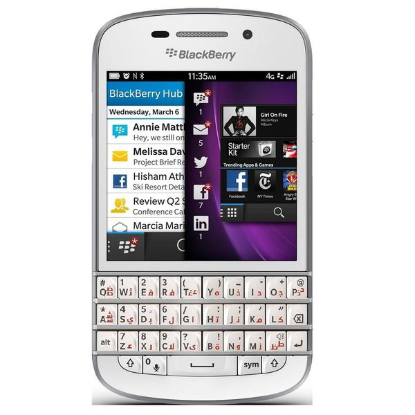 Blackberry Q10 16GB Unlocked GSM 4G LTE OS 10 Cell Phone w/ Arabic Keyboard - White
