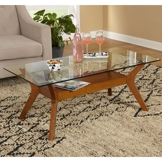 Simple Living Fontana Walnut Finished Coffee Table with Glass Top