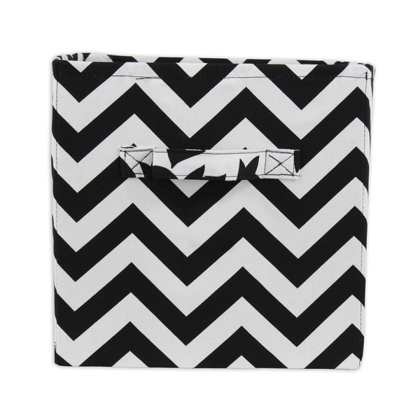 Zig-zag Black and White Storage Bin with Handles