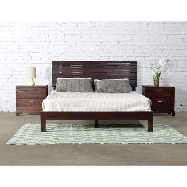 Lavender Merlot Solid Wood Queen-sized Slated Platform Bed