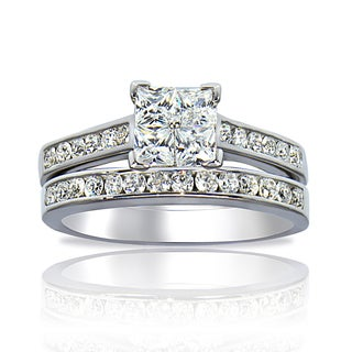 Icz Stonez Sterling Silver Cubic Zirconia Princess-cut Illusion Bridal Ring Set