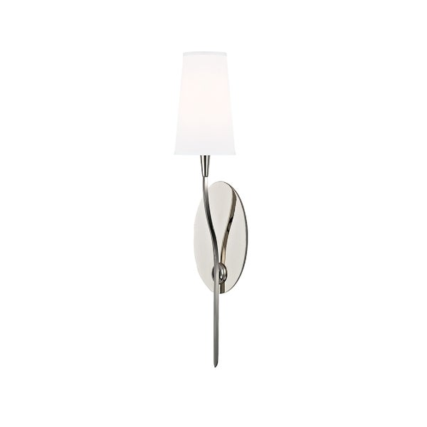 Hudson Valley Rutland 1-light Polished Wall Sconce, White Shade