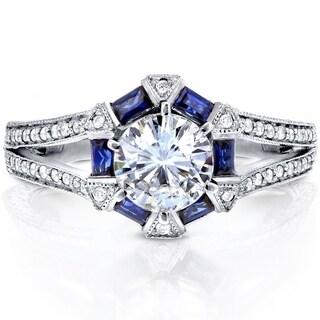 Annello 14k White Gold Forever Brilliant Moissanite, Blue Sapphire and 1/4ct TDW Diamond Art Deco Engagement Ring (G-H, I1-I2)