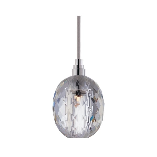Hudson Valley Naples Chrome 11 foot Silver Cord Pendant, Oval