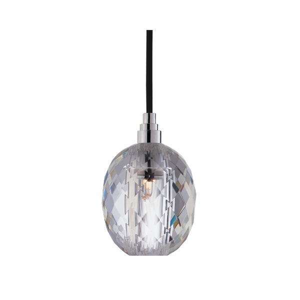 Hudson Valley Naples Chrome Small Black Cord Pendant, Oval