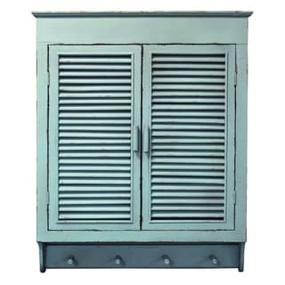 Louvered Wall Cabinet, Distressed Cottage Blue Finish