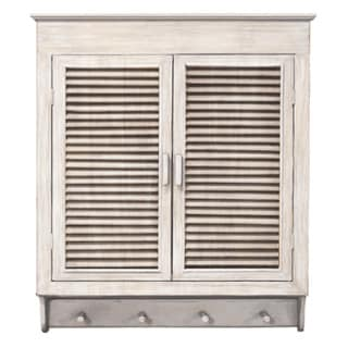 Louvered Wall Cabinet, Whitewashed Finish