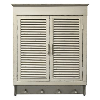Louvered Wall Cabinet, Distressed Cream Finish