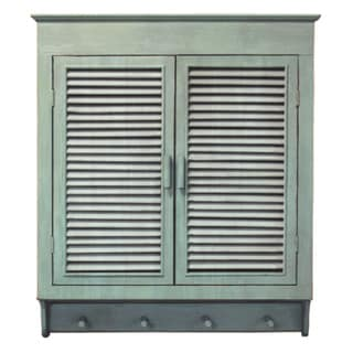 Louvered Wall Cabinet, Verdigris Green Finish