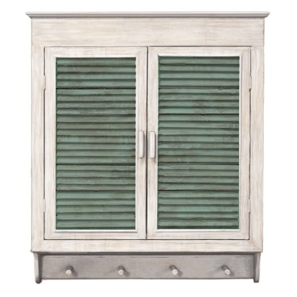 Louvered Wall Cabinet, White With Green Panels