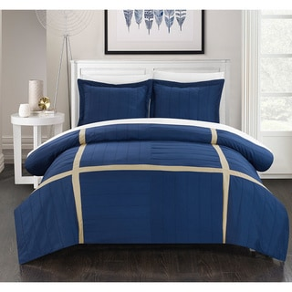 Chic Home 3-piece Delphia Pleated Patchwork Color Block Duvet Cover Set