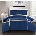 Chic Home 3-piece Delphia Pleated Patchwork Color Block Duvet Cover Set