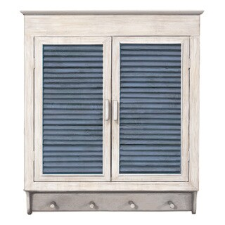Louvered Wall Cabinet, Whitewashed With Indigo Panels