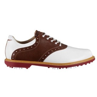Ashworth Men's Kingston White/ Brown Golf Shoes