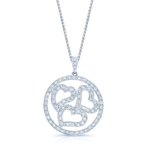 14k White Gold 1/2ct TDW Diamond Triple Heart Pendant (H-I, VS1-VS2)