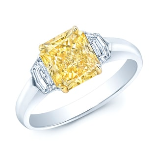 Estie G 18k Yellow Gold and Platinum 2 5/8ct TDW Radiant GIA-Certified Fancy Yellow Diamond Ring