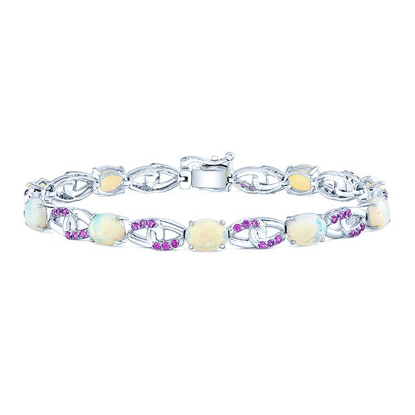 14k White Gold Opal and Pink Sapphire Bracelet