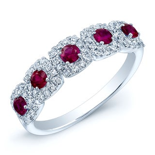 Estie G 14k White Gold Ruby and 1/3ct TDW Side Diamond Fashion Ring (H-I, SI1-SI2)