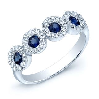 Estie G 14k White Gold Blue Sapphire and 1/2ct TDW Diamond Band (H-I,VS1-VS2)