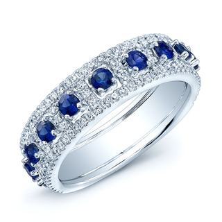 Estie G 14k White Gold Blue Sapphire and 1/4ct TDW Diamond Band (H-I, SI1-SI2)