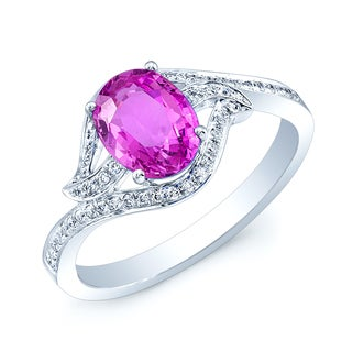 Estie G 14k White Gold Oval Pink Sapphire and 1/6ct TDW Diamond Ring (H-I, SI1-SI2)
