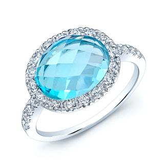 Estie G 14k White Gold Oval BlueTopaz 3/5ct TDW Diamond Ring (H-I, SI1-SI2)