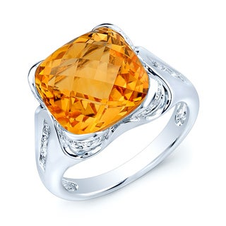 Estie G 14k White Gold Cushion-cut Citrine 1/3ct TDW Diamond Fashion Ring (H-I, SI1-SI2)