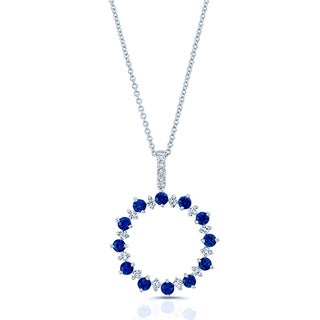 Estie G 14k White Gold Sapphire 1/4ct TDW Diamond Circle Pendant (H-I, SI1-SI2)