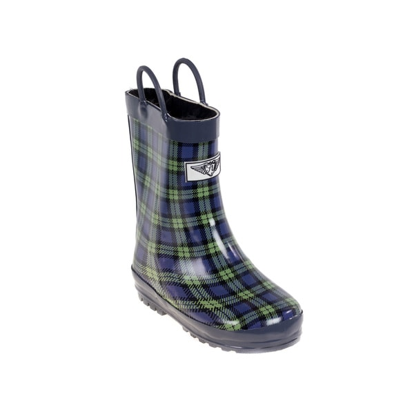 Kids' Blue/ Green Plaid Rain Boots