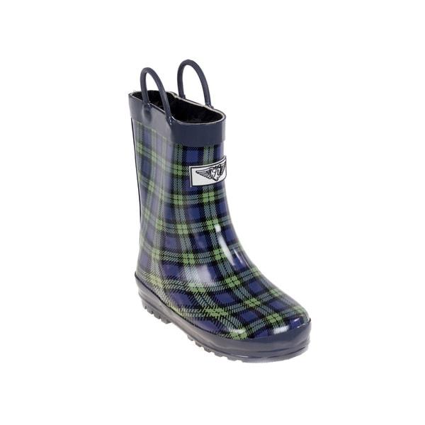 Kids' Blue/ Green Plaid Rain Boots