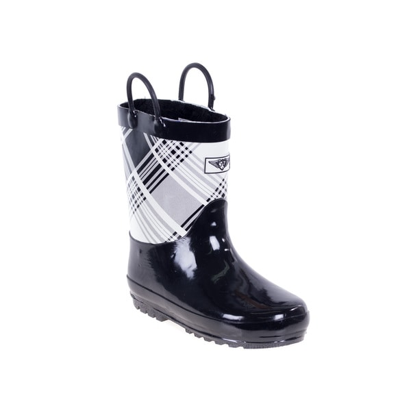 Kids' Black/ White Plaid Rain Boots