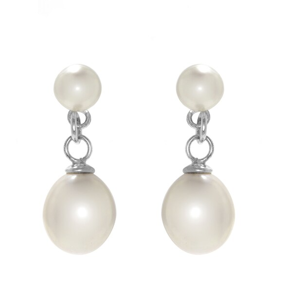 Double Freshwater Cultured Pearl Drop Earrings