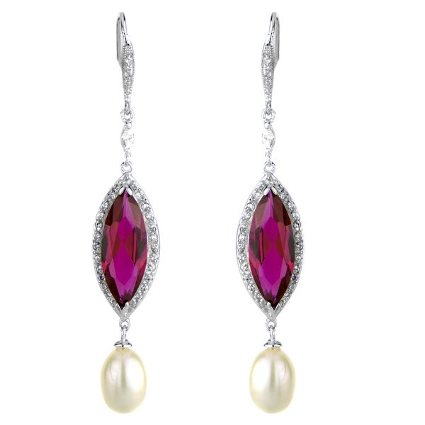 Imitation Pearl & Red CZ Earrings