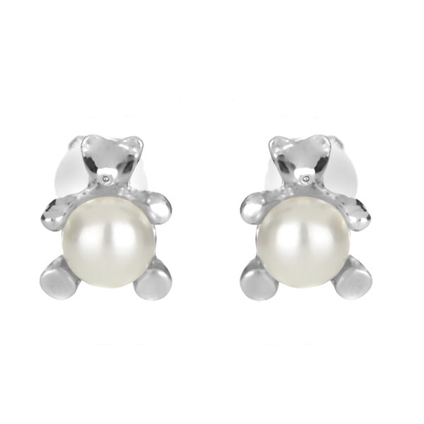 Pearl Teddy Bear Clip On Earrings