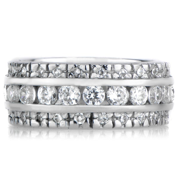 Sterling Silver Triple Row CZ Eternity Ring