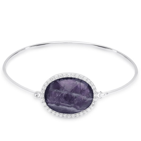 Dolce Giavonna Sterling Silver Oval Gemstone and Cubic Zirconia Bangle