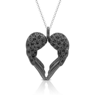 Dolce Giavonna Sterling Silver Cubic Zirconia Angel Wings Heart Necklace