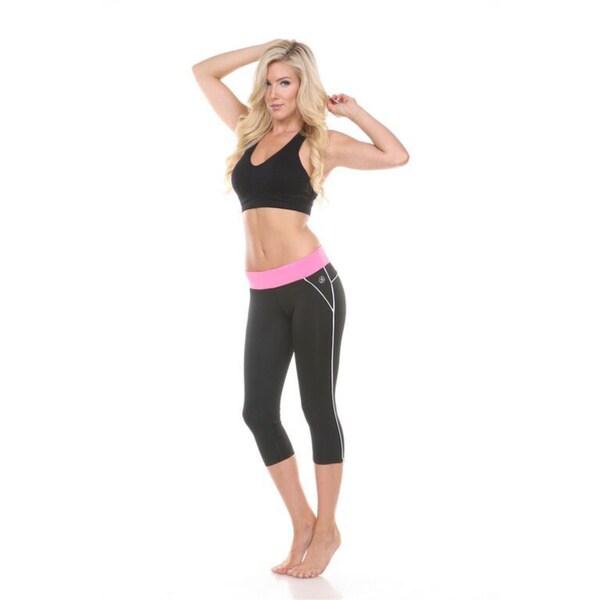 Active Wear Bottom Pink/ Black Capri Leggings