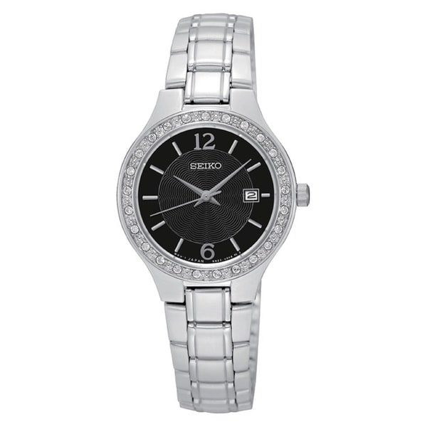 Seiko Women's SUR785 Stainless Steel Black Dial Silver Tone Crystal Embellished Watch