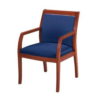 Upholstered Guest Chair Medium Cherry Wood Frame Upholstered Back