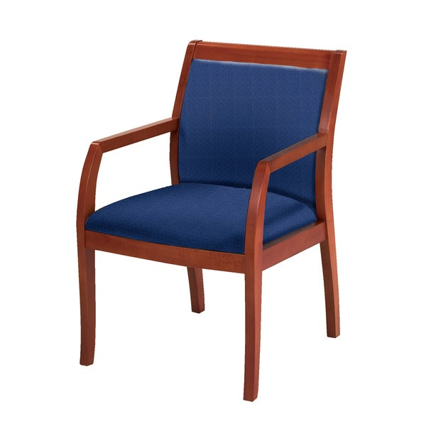Upholstered Guest Chair Medium Cherry Wood Frame ...