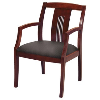 Upholstered Guest Chair Medium Cherry Wood Frame Laser Cut Slat Back