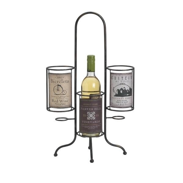 Elements Vintage Label 3-bottle Wine Holder