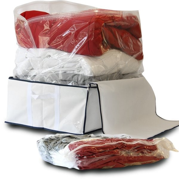 Storage's Finest Medium Flat Vacuum Storage Bag Space Savers with Jumbo Fabric Storage Tote