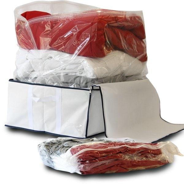 Storage's Finest Medium Flat Vacuum Storage Bag Space Savers with Jumbo Fabric Storage Tote