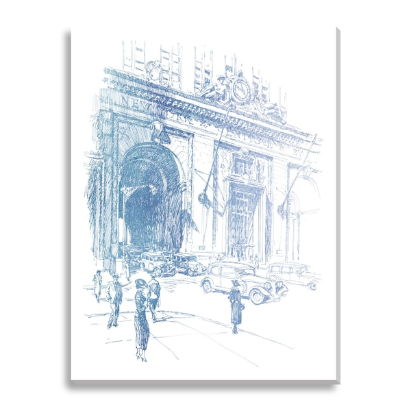 North Facade of New York Central Building Oversized Canvas Gallery Wrap