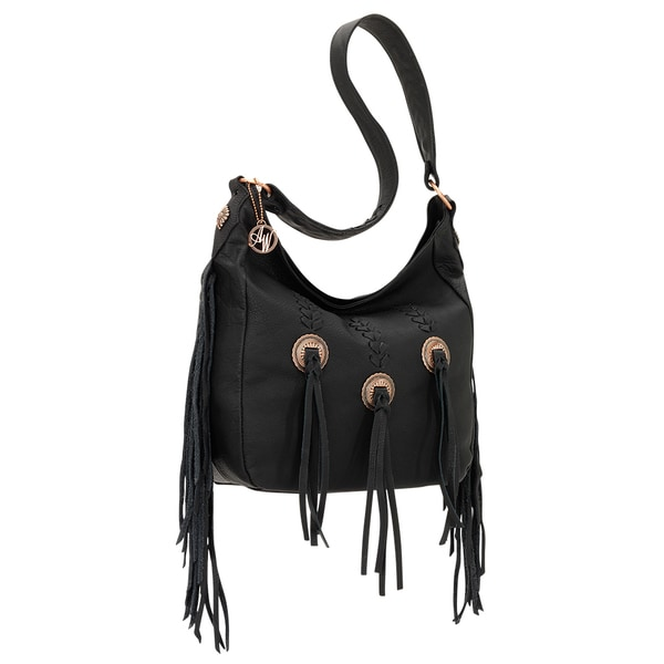 American West Dream Catcher Black Fringe Shoulder Bag
