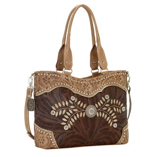 American West Brown Woodland Bloom Zip Top Convertible Tote Bag